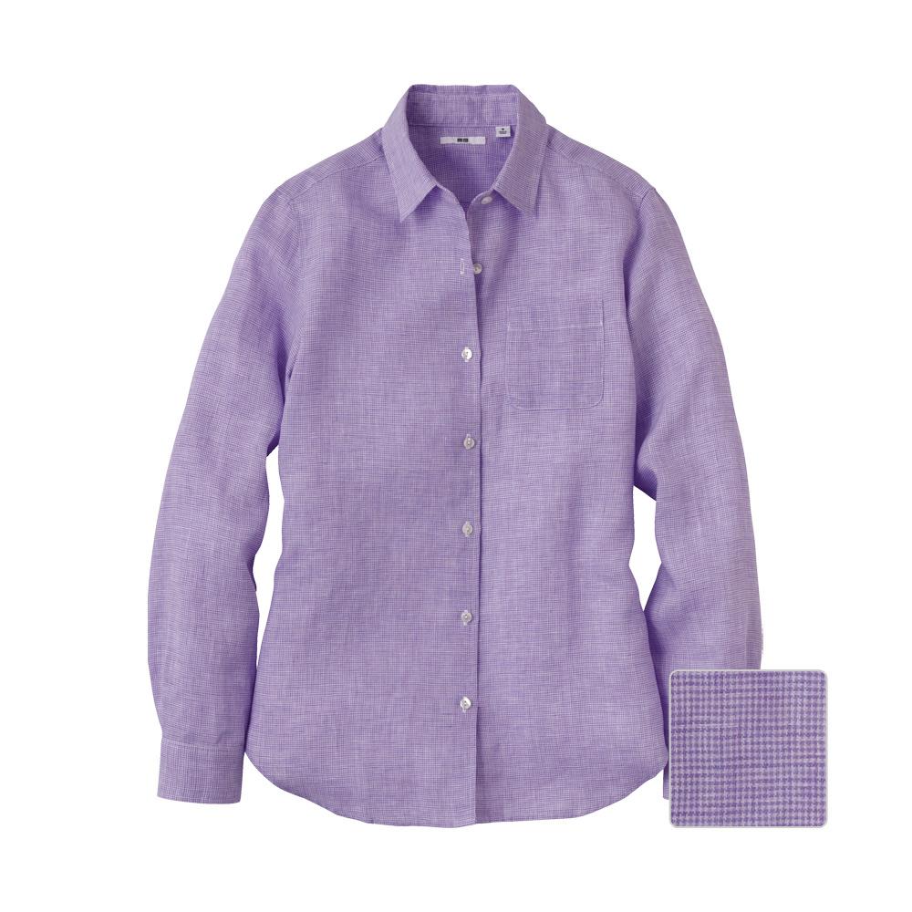 Uniqlo women premium linen check long sleeve shirt a in for Uniqlo premium t shirt