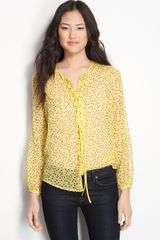 Bellatrix Sheer Polka Dot Silk Tie Neck Blouse - Lyst