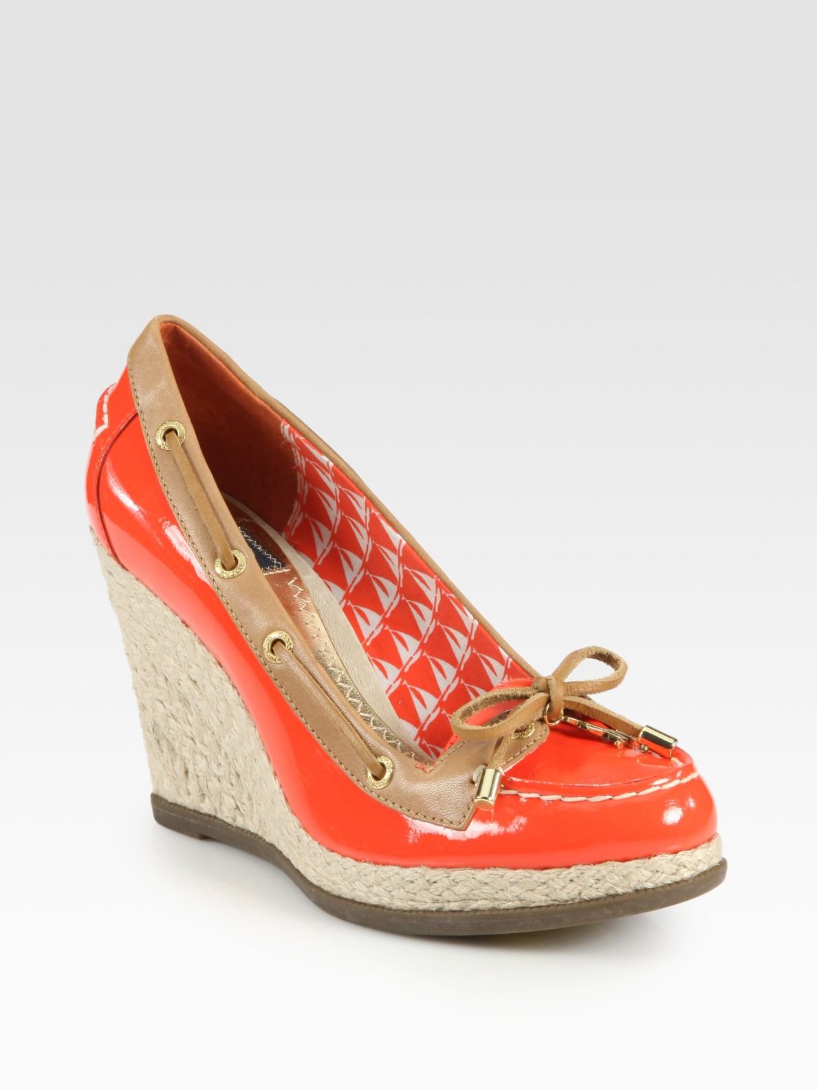 milly leather and patent leather espadrille wedge boat