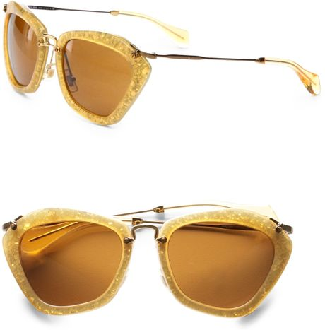 Miu Miu Noir Catwalk Sunglasses in Gold - Lyst
