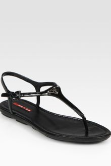 Prada Patent Leather T-strap Sandals - Lyst