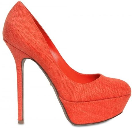 Sergio Rossi 130mm Uptown Linen Pumps in Orange - Lyst