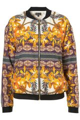 Topshop Crocus Placement Scarf Bomber Jacket - Lyst