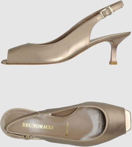 Bruno Magli Highheeled Sandals in Gold - Lyst