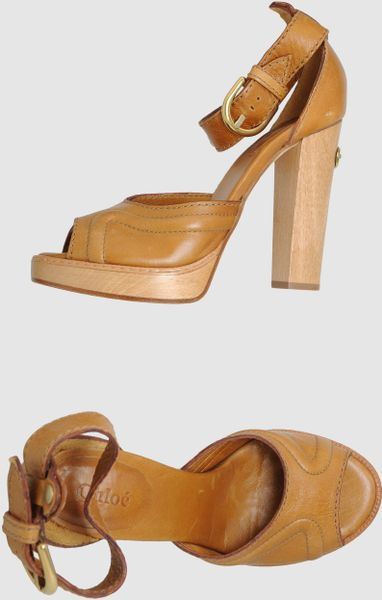 Chloé Platform Sandals in Brown (tan) - Lyst