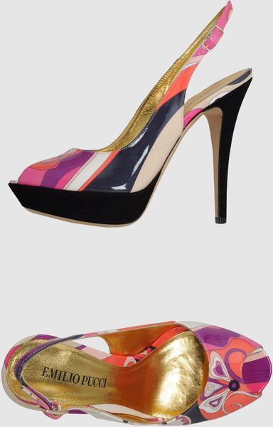 Emilio Pucci Platform Sandals in Multicolor (coral)