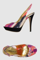 Emilio Pucci Platform Sandals in Multicolor (coral) - Lyst