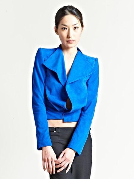 Haider Ackermann Womens Watts Suede Jacket in Blue
