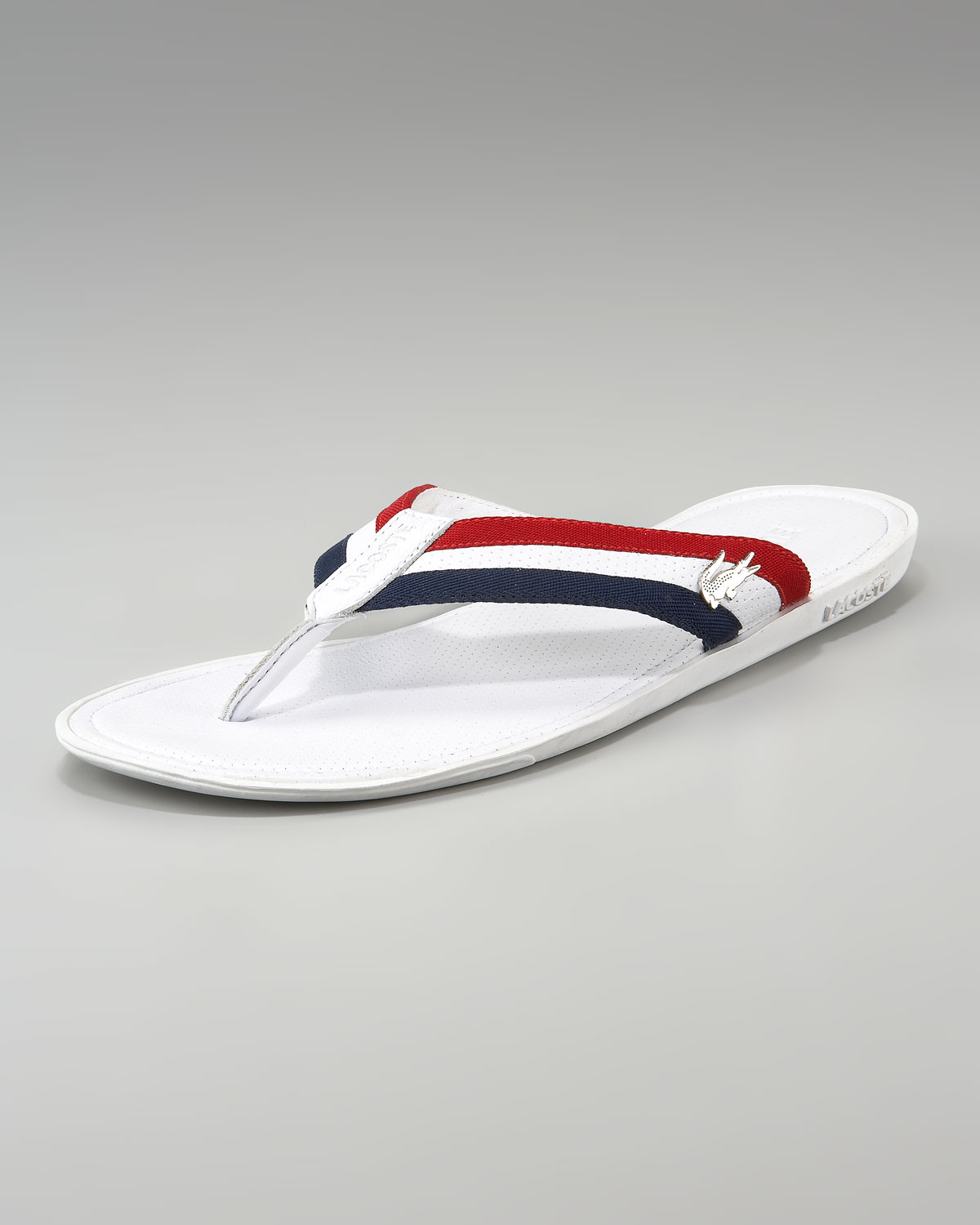 29f60b5bb593 Lacoste Carros Striped Flip-flop in White for Men - Lyst