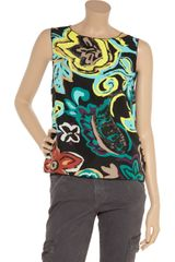 M Missoni Printed Crepe Top in Multicolor (black) - Lyst