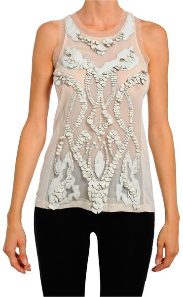 Amen Jersey Top Embroidered with Tulle and Leather Petals in White - Lyst