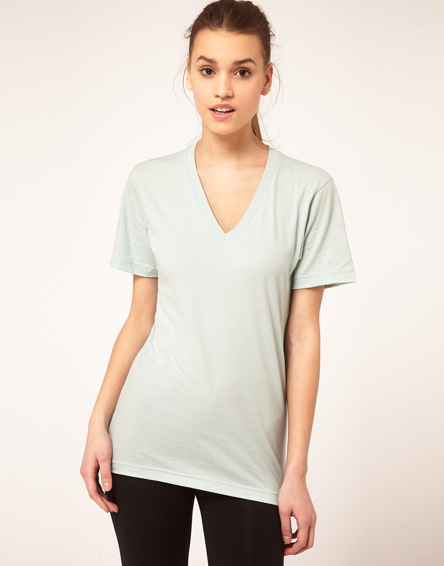 American Apparel V Neck T Shirt In Green Seafoam Lyst