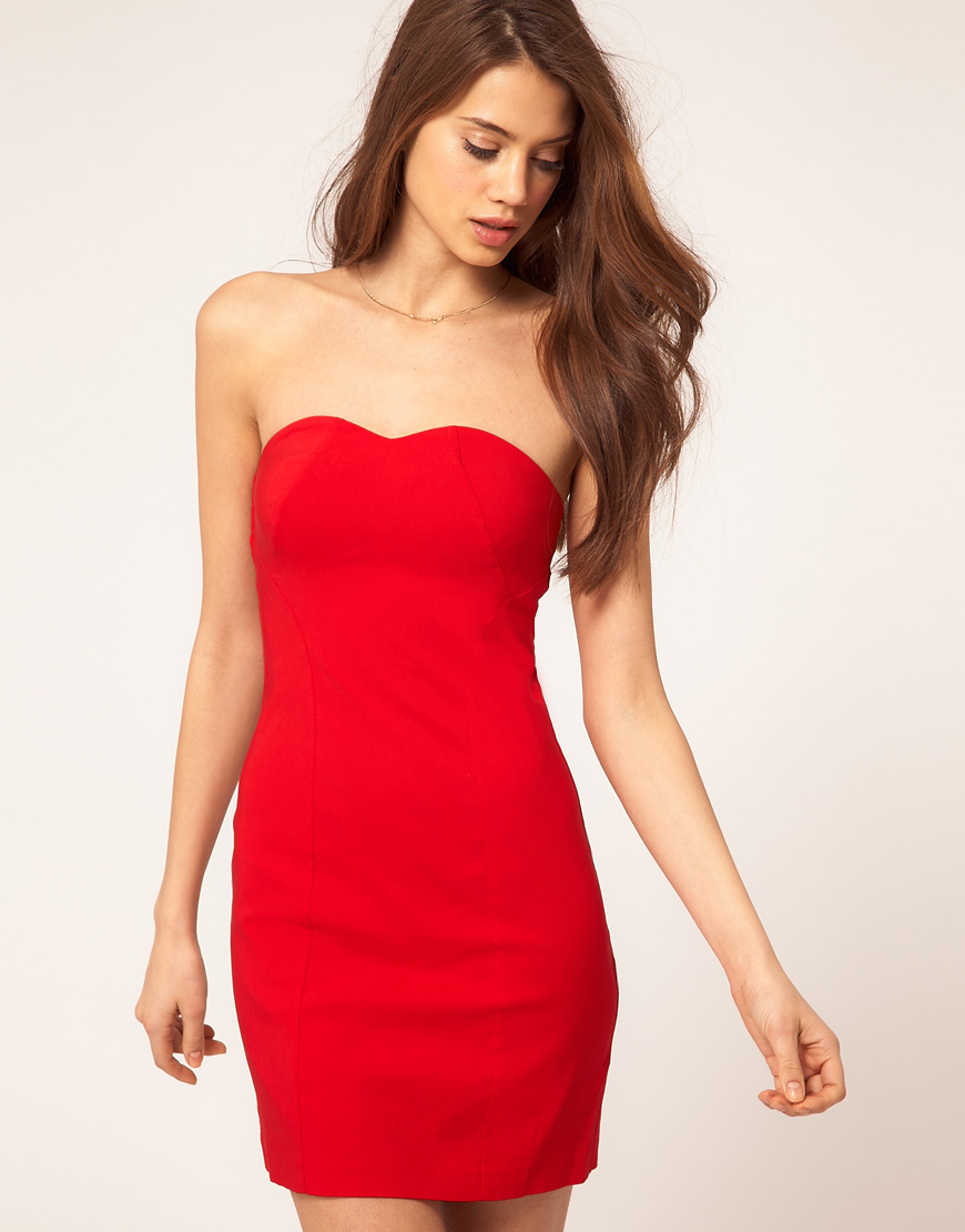 3dc8ea851360 ASOS Collection Asos Sexy Strapless Dress in Red - Lyst