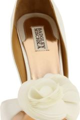 Badgley Mischka Womens Randall Open Toe Pump in Beige (white satin) - Lyst