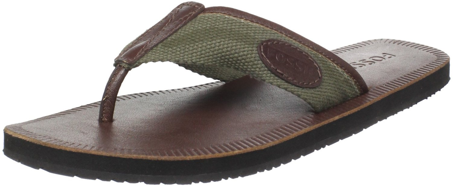 Fossil Mens Comanche Thong Sandal In Green For Men Camo
