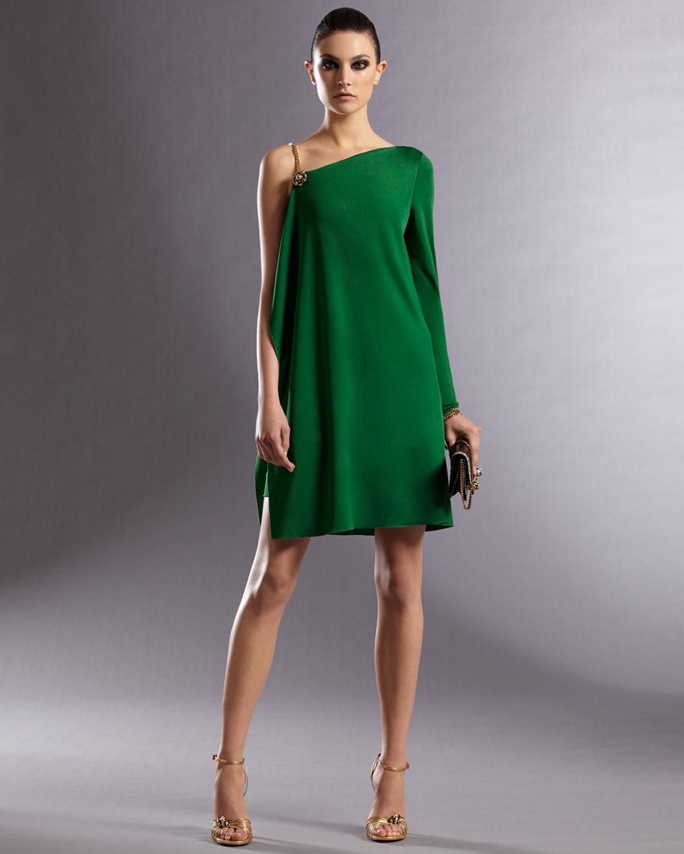 Lyst Gucci Asymmetric Dress In Green