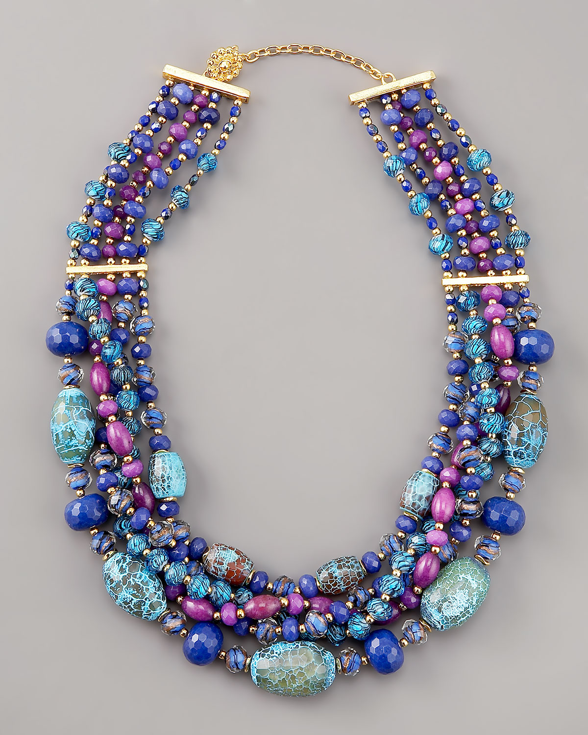 Jose & Maria Barrera Multi-Strand Bead & Chain Draped Necklace ayNHkIVNew
