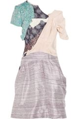 Michael Van Der Ham Collage Asymmetric Woven Silk-blend Dress - Lyst