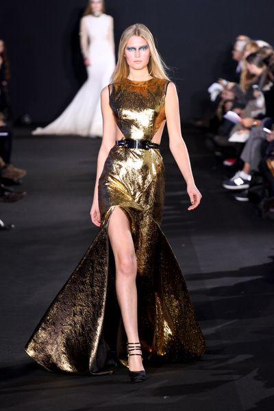 Prabal Gurung Fall 2012 Sleeveless Gown in Gold Lamé with Cutouts in Gold - Lyst