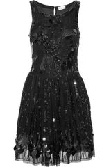 Red Valentino Embellished Mesh Dress in Black - Lyst