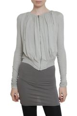 Rick Owens Lilies Short Baloon Jersey Cardigan Sweater in Gray - Lyst