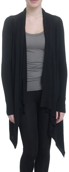 Rick Owens Wrapped Merino Cardigan in Black - Lyst