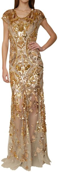 Roberto Cavalli Tulle Mermaid Dress with Golden Sequins Embrodery in Beige (mermaid) - Lyst