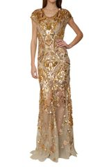 Roberto Cavalli Tulle Mermaid Dress with Golden Sequins Embrodery