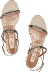 Valentino Crystalembellished Leather Sandals in Silver (rose) - Lyst