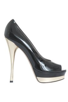 Versace Patent Leather Open Toe Decolletè - Lyst