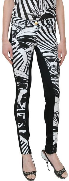 Versace Two Colored Printed Skinny Jeans in Black - Lyst