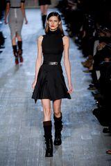 Victoria Beckham Fall 2012 Short Black Sleeveless Dress with Cheerleader Shirt and Turtleneck Top  in Black - Lyst