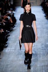 Victoria Beckham Fall 2012 Short Formal Dress with Contrast Leather Collar and Cheerleader Skirt - Lyst