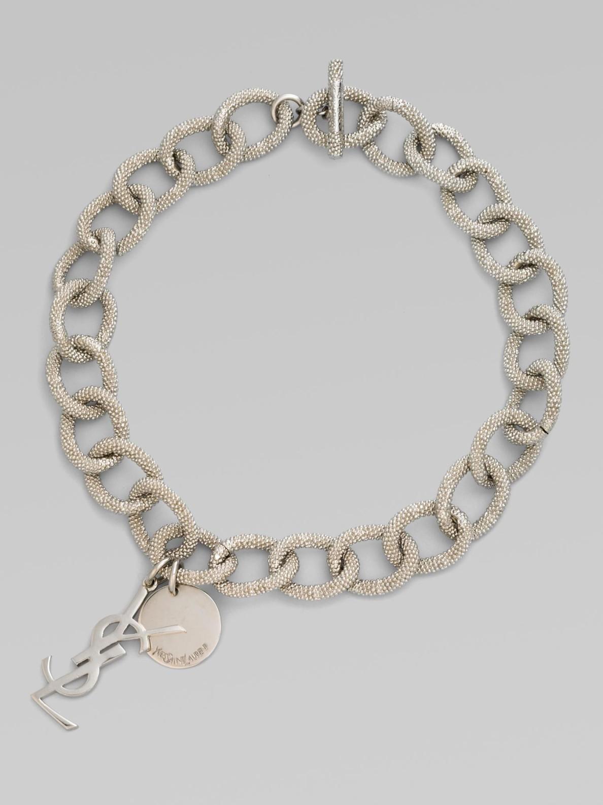 83dddc996c19fd Saint Laurent Textured Links Necklace in Metallic - Lyst