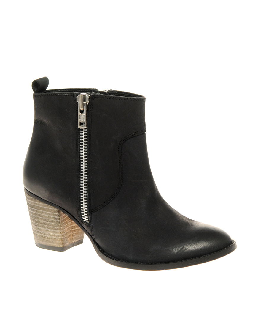asos asos actor leather ankle boots with zip and