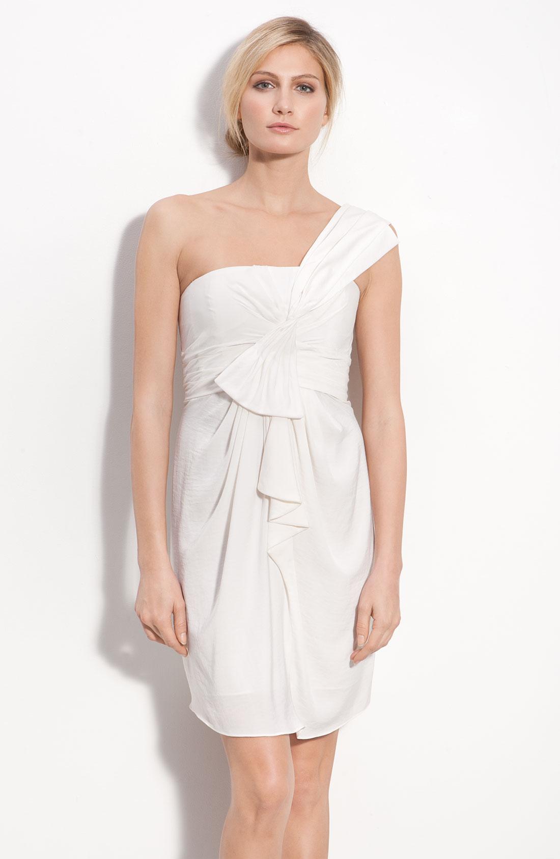 Bcbgmaxazria Drape Front One Shoulder Satin Dress in White ...