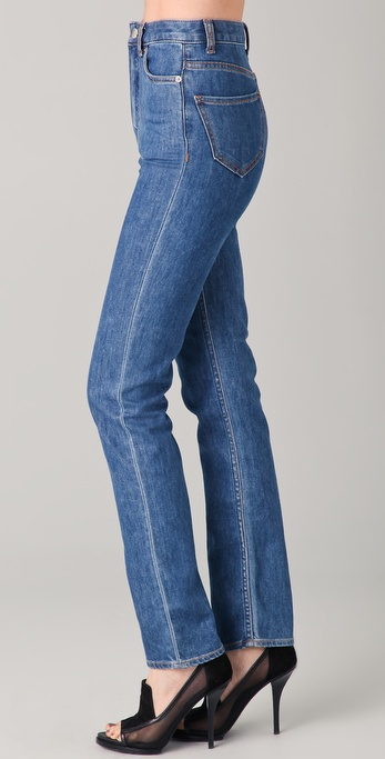 Charlotte On The Cheap >> Lyst - Blk dnm High Waisted Straight Leg Jeans in Blue