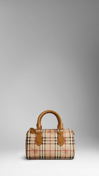 Burberry Small Haymarket Bowling Bag in Brown (tan) - Lyst
