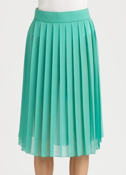 chlo 233 pleated silk skirt in green lyst