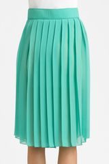 Chloé Pleated Silk Skirt in Green - Lyst