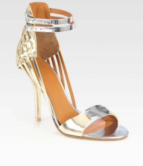 Givenchy Metallic Leather and Suede Sandals in Gold - Lyst