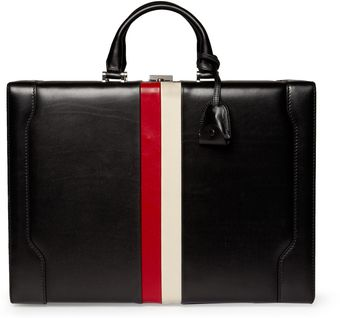 Gucci Striped Leather Briefcase - Lyst