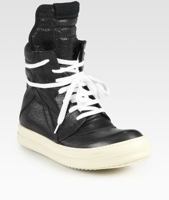 Rick Owens High Top Leather Sneakers - Lyst