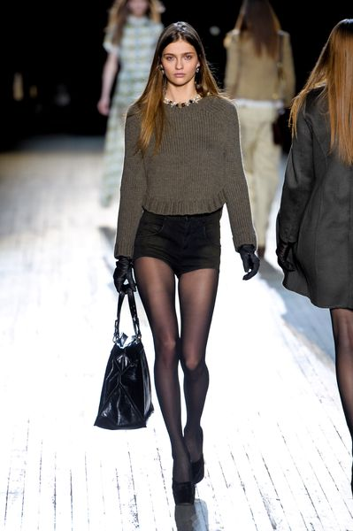 Theyskens' Theory Fall 2012 Crewneck Long Sleeve Sweater in Khaki in Khaki - Lyst