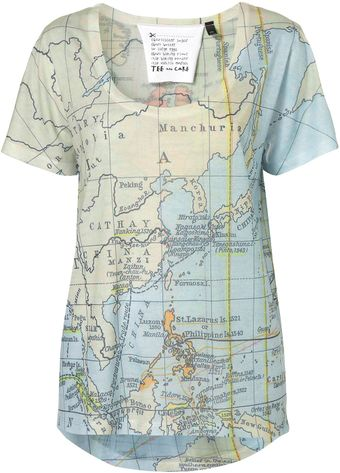 Topshop Map Print Tee By Tee and Cake - Lyst