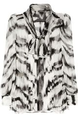 Alexander Mcqueen Tigerprint Silkchiffon Blouse in Animal (tiger) - Lyst