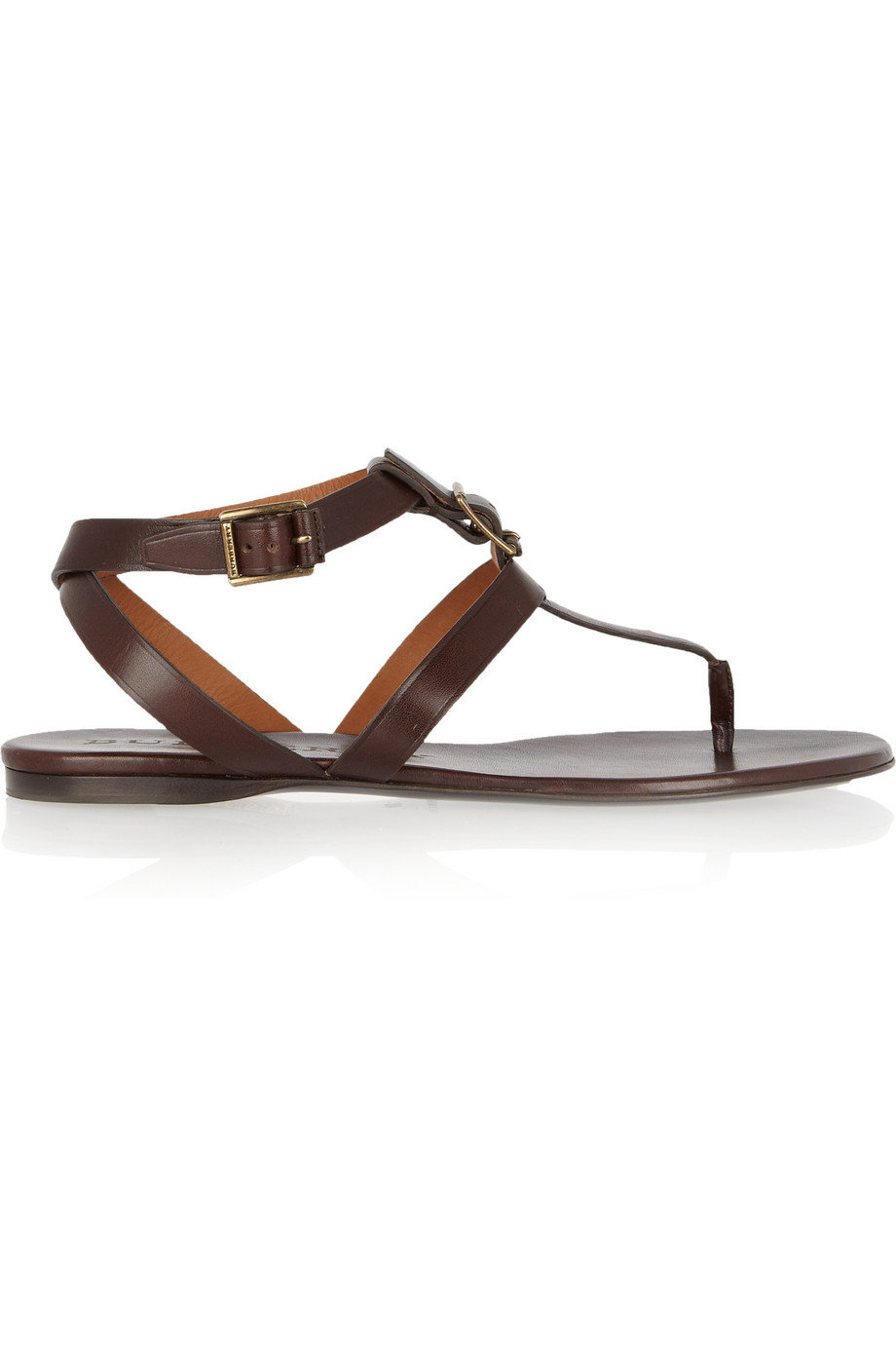 Lyst Burberry Leather T Bar Sandals In Brown