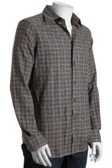 Corneliani Id Grey and Brown Plaid Flannel Long Sleeve Button Front Shirt - Lyst