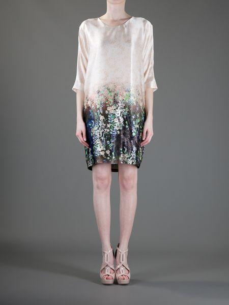 Emporio Armani Printed Dress In Floral Beige Lyst