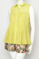 Jason Wu Sleeveless Pleated Blouse in Yellow - Lyst